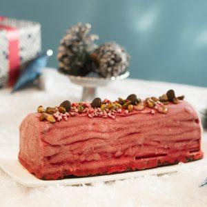 Bûche de Noël vegan choco-framboise du Quai des Glaces